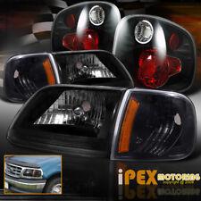 01-03 Ford F150 SVT Lightning King Ranch Headlights + Corner + Tail Light Black