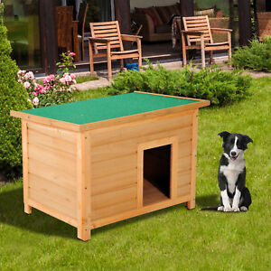 Pawhut 85cm Elevated Dog Kennel Wooden Pet House Outdoor Waterproof