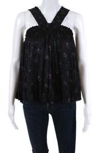 Ulla Johnson Womens Floral Halter Sleeveless Blouse Gray Size 2