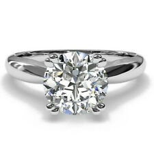 Diamond Engagement Ring .925 Silver Ring 2.20 Ct Round Near White Moissanite
