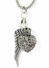 and Heart and Crown Angel Necklace, Pendant Angel Wing