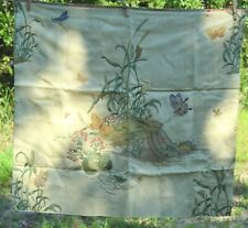 "30""x27"" upholstery fabric beige with stump, wildflower, butterfly"
