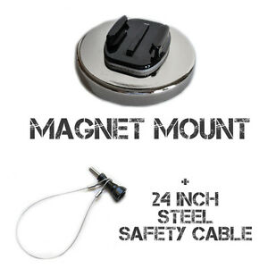 100+ MPH Magnetic Mount compatible with GoPro® 24 in steel tether 160+ KPH