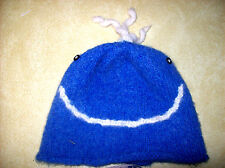 ALPACA WOOL KIDS HAT Smiley Face UNISEX LLAMA  PERUVIAN INCA blue