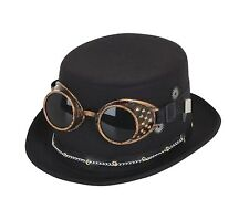 Steampunk Top Hat Noir avec Google et engrenages Fancy Dress Party Accessoire