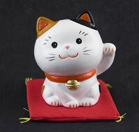 Figura Gato Japonés 9cm Blanco Fabricado en Japón Maneki Neko Welcome Money