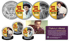 ELVIS PRESLEY * Love Me Tender * Kennedy Half Dollar 3-Coin Set LICENSED Color
