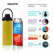 Aquatix Lemon Yellow Insulated FlipTop Sport Bottle 21 oz Pure Stainless Steel