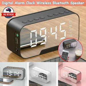 LED Display Mirror Digital Alarm Clock Wireless Bluetooth Speaker Home Decor