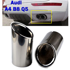 2 × Audi Chrome Stainless Steel Exhaust Tail Muffler Tip Pipe for A4 B8 Q5 75mm