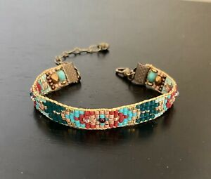 Antique Brass Garnet czech beaded bracelet Sundance Inspired
