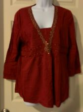 Motherhood Maternity Red Sequin Pullover Top Size L
