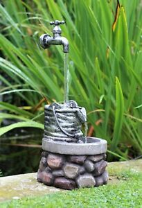 Garden Water Feature Fountain LED Lights Indoor Outdoor Tap Statues Ornament