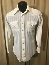Mens Vtg 1970s H Bar C Western Shirt M White Striped Long Sleeve poly Rockabilly