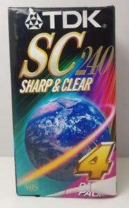 TDK Sharp SC240 Blank VHS Media Tapes 4 Pack