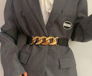 Women Ladies Fashion Gold Twisted Metal Elastic Wide Stretch Belt Waist Band UK