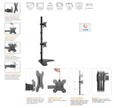 "Aluminum Vertical Dual LCD LED Monitor Vesa Desk Stand Mount Holds Upto 27"" Inch"