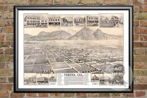 Old Map of Pomona, CA from 1886 - Vintage California Art, Historic Decor