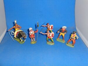 Group of Plastinol and Leyla Cowboys and Indians figures Lineol Elastolin