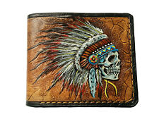 Men's Genuine Leather Wallet, Carved Wallet, Native American Skull, Red Man