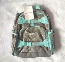 "New! Pottery Barn Kids girls LARGE BACKPACK monogram "" ISABELLA "" silver aqua"
