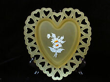 Westmoreland Satin 00004000  Glass Heart Shaped Hand Painted Daisys Plate Dish