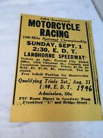 Vintage AMA Motorcycle 100 Mile Race 1946 Flyer Reproduction Paper Add
