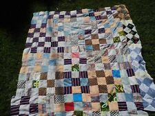 Vintage Fabric Scrap Quilt TOP Hand Made Sewn Country Primitive