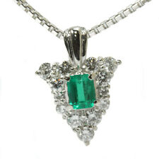 Auth Platinum 850/900 Emerald Necklace Free shipping #01432