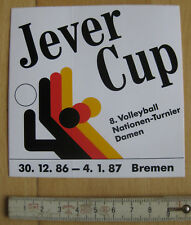 Aufkleber / Sticker JEVER-CUP Volleyball-Nationen Turnier 1986 / 87 Bremen