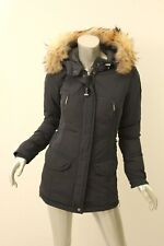 PARAJUMPERS Blue-Black Rita Fur-Trim Down Coat XS $898