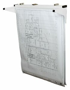 Adir White Drop Lift Wall Rack for Blueprints Plans W/ 12-File Hanging Clamps