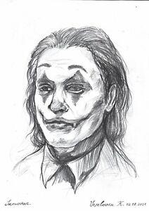 original drawing A3 26VX art samovar Charcoal modern Joker sketch Signed