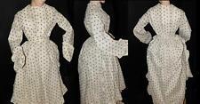 SUPERB VICTORIAN ANTIQUE 1880 2PC FAB PRINT COTTON BUSTLE PRAIRIE VISITING DRESS