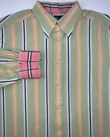 Robert Graham Green Stripe Dress Shirt Mens Large Long Sleeve Button Down