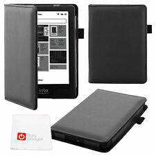Faux Leather Custom Case / Cover in Black for Kobo Glo HD, Glo 6, Touch 2.0