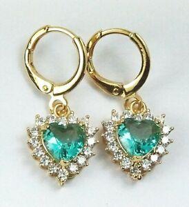 Women's Gold Plated Aqua Crystal Heart drop dangle Huggie Earrings
