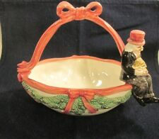 Fitz & Floyd 1993 Ceramic Candy Dish Top Hat Man Pot of Gold Coins Garlands Bow