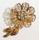 broche bijou vintage fleur finement travaillé cristaux diamant couleur or 3147