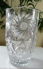 "8 1/2"" HEAVY LEAD  CUT CRYSTAL VASE w/ SAWTOOTH  RIM STARBURST PATTERN Bouquet"