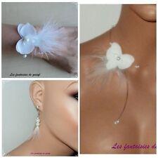 Parure collier/bracelet/BO orchidée blanche,mariage