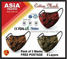 Premium Reusable 5 Layers Cotton Face Mask - 3 Pack