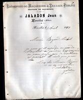 """MARCILLAT (03) Ets de MACONNERIE & TRAVAUX PUBLICS """"Jean JALADON"""" en 1910"""