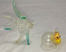 """Vintage ~Hand Made ~3"""" Tall Glass Fish & Glass Octopus with Float"""