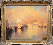 Venice Harbor In Sunny Morning~Big Size Original Oil Painting+Wood Frame