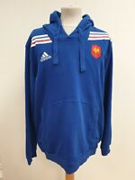 P117 MENS ADIDAS BLUE FRANCE FOOTBALL DRAWSTRING TRACKSUIT HOODIE UK L EU 52