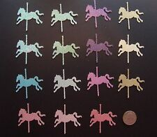 30 GLITTER CAROUSEL HORSE DIE CUTS PUNCHES CONFETTI 5 OMBRE COLORS