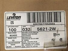 (10) White Leviton Decora Plus Switch, Single Pole Rocker, Grounding
