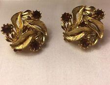 Vintage Lisner Gold Tone Clip On Earrings Rhinestones Signed