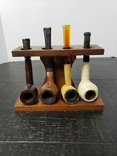 Vintage Wooden Pipe Stand with 4 Vintage Pipes